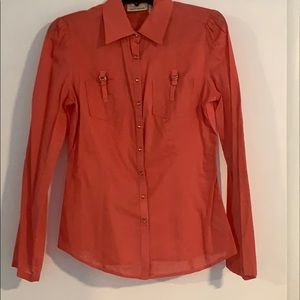 Cute Salmon-Colored Long-Sleeved Button Down Top!